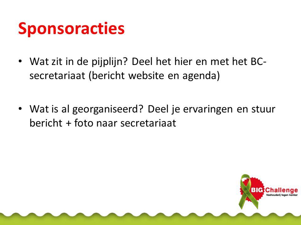 Sponsoracties Wat zit in de pijplijn? Deel het hier en met het BC- secretariaat (bericht website en agenda) Wat is al georganiseerd? Deel je ervaringe
