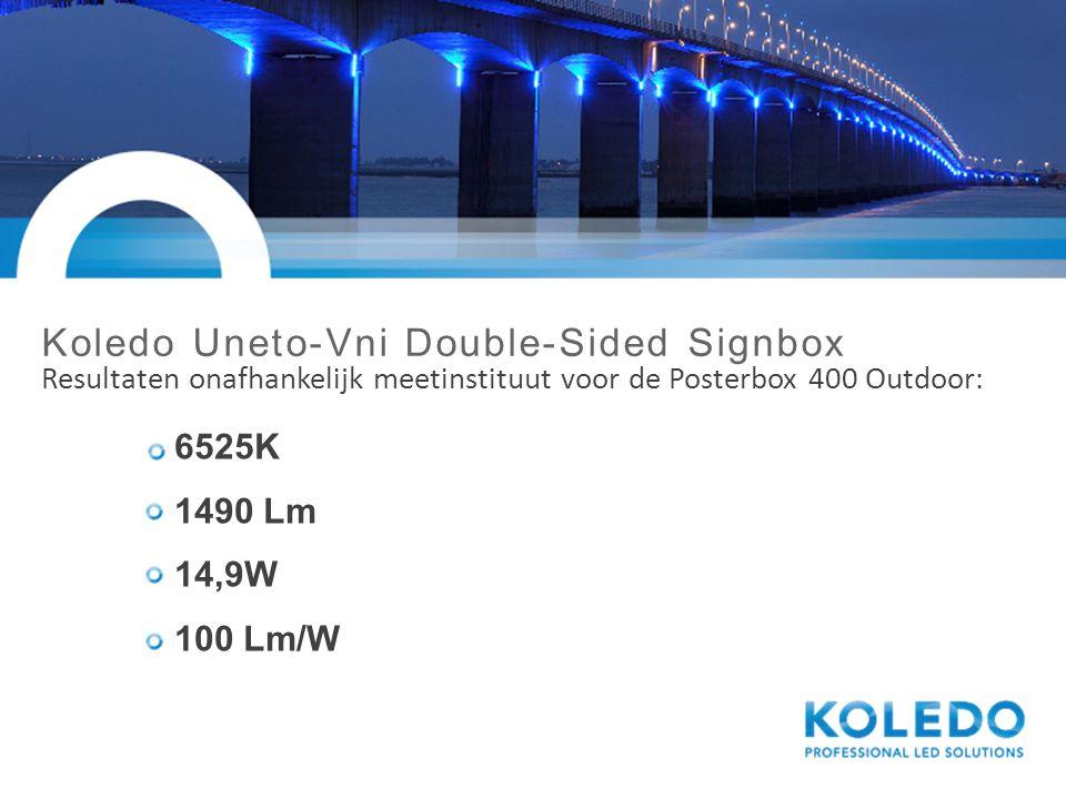 Koledo Uneto-Vni Double-Sided Signbox Resultaten onafhankelijk meetinstituut voor de Posterbox 400 Outdoor: 6525K 1490 Lm 14,9W 100 Lm/W