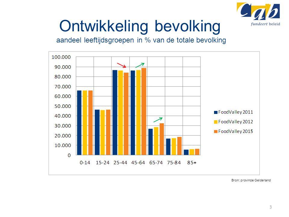 Ontwikkeling bevolking aandeel leeftijdsgroepen in % van de totale bevolking 3 Bron: provincie Gelderland