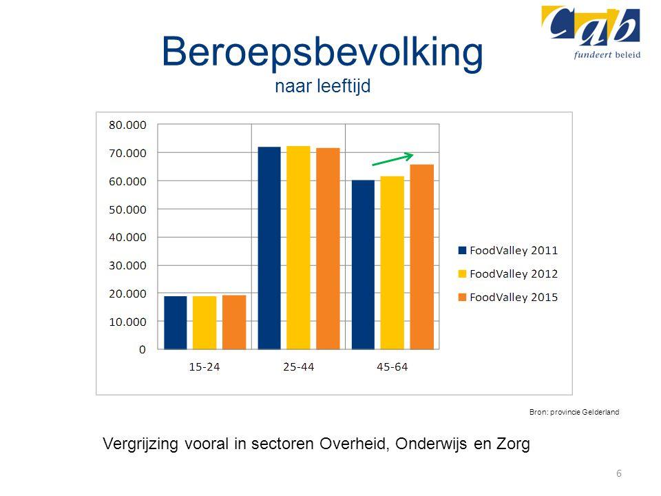 Beroepsbevolking naar leeftijd 6 Bron: provincie Gelderland Vergrijzing vooral in sectoren Overheid, Onderwijs en Zorg