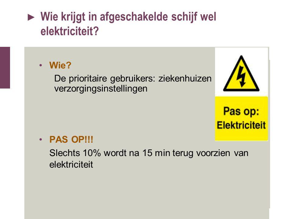 ► Wie krijgt in afgeschakelde schijf wel elektriciteit? Wie? De prioritaire gebruikers: ziekenhuizen en verzorgingsinstellingen PAS OP!!! Slechts 10%
