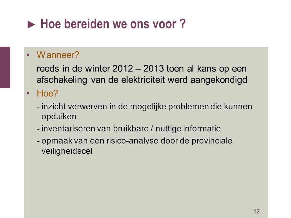 ► Hoe bereiden we ons voor ? Wanneer? reeds in de winter 2012 – 2013 toen al kans op een afschakeling van de elektriciteit werd aangekondigd Hoe? -inz