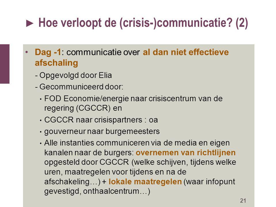 ► Hoe verloopt de (crisis-)communicatie? (2) Dag -1: communicatie over al dan niet effectieve afschaling -Opgevolgd door Elia -Gecommuniceerd door: FO