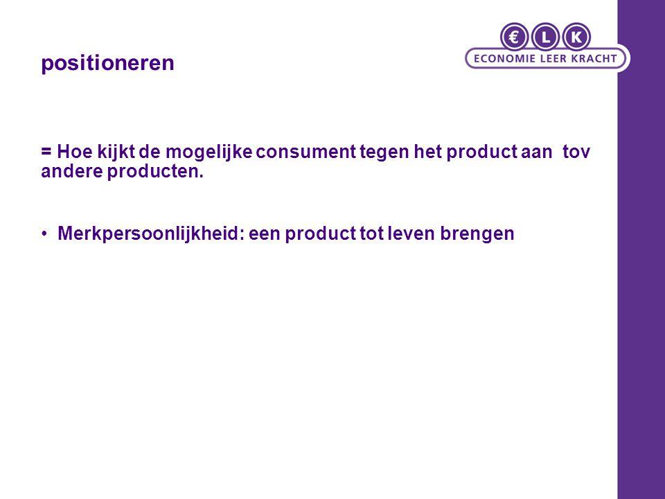 = Hoe kijkt de mogelijke consument tegen het product aan tov andere producten. Merkpersoonlijkheid: een product tot leven brengen positioneren
