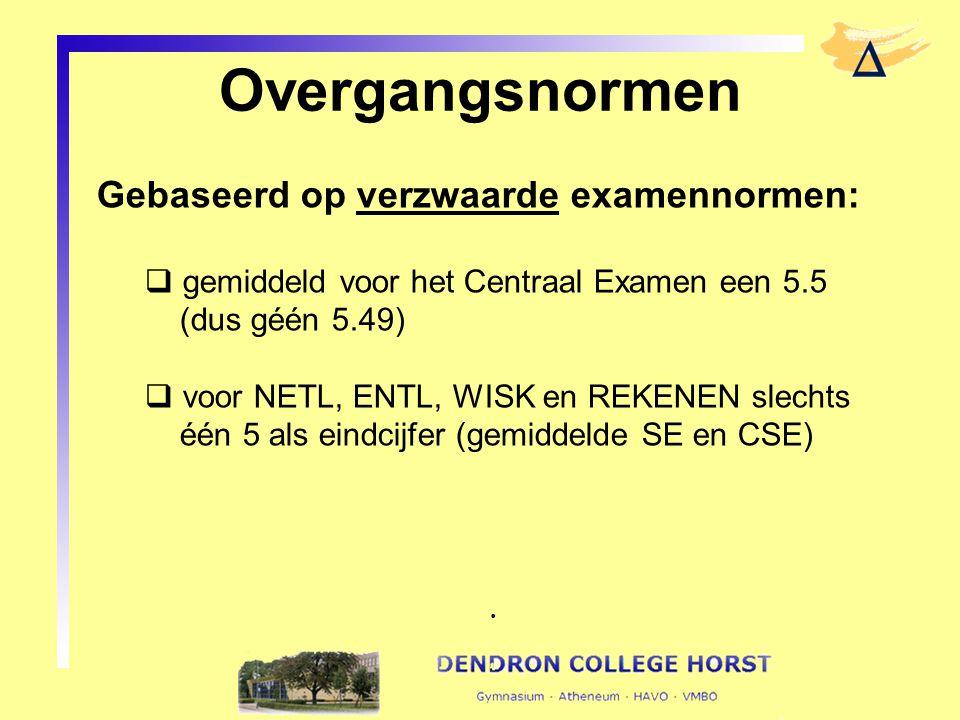Overgangsnormen Gebaseerd op verzwaarde examennormen:  gemiddeld voor het Centraal Examen een 5.5 (dus géén 5.49)  voor NETL, ENTL, WISK en REKENEN slechts één 5 als eindcijfer (gemiddelde SE en CSE).