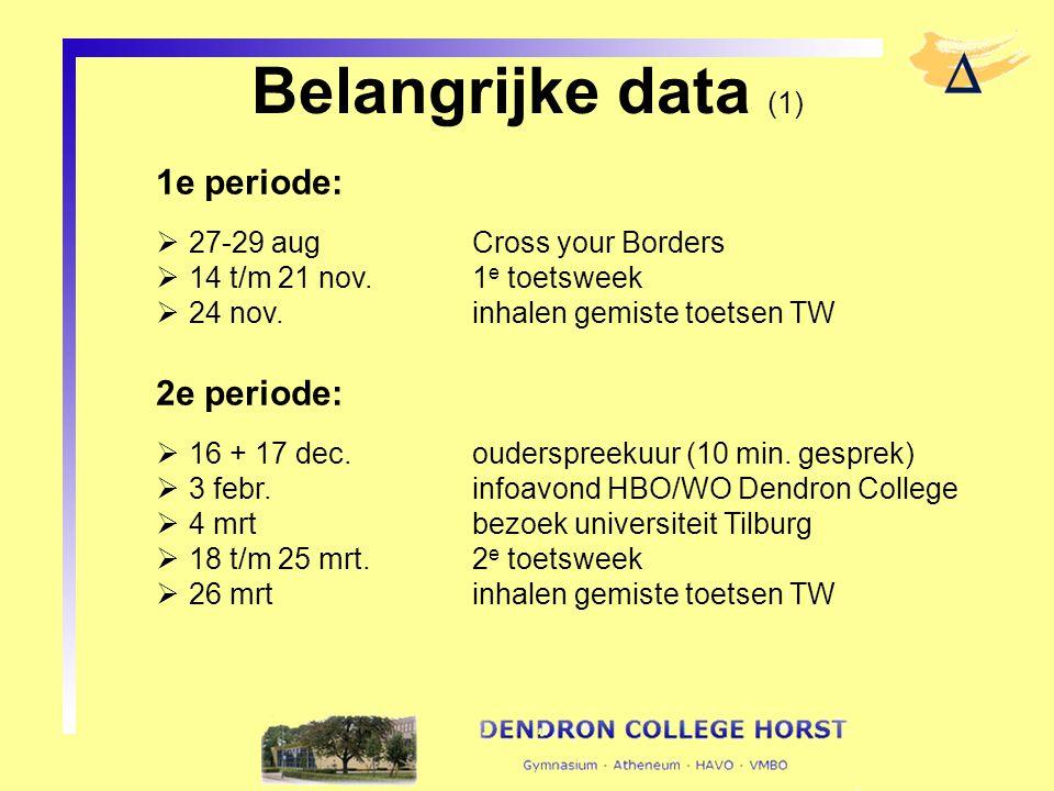 Belangrijke data (1) 1e periode:  27-29 augCross your Borders  14 t/m 21 nov.1 e toetsweek  24 nov.inhalen gemiste toetsen TW 2e periode:  16 + 17 dec.ouderspreekuur (10 min.