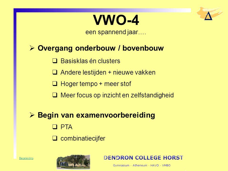 VWO-4 een spannend jaar….  Overgang onderbouw / bovenbouw  Basisklas én clusters  Andere lestijden + nieuwe vakken  Hoger tempo + meer stof  Meer