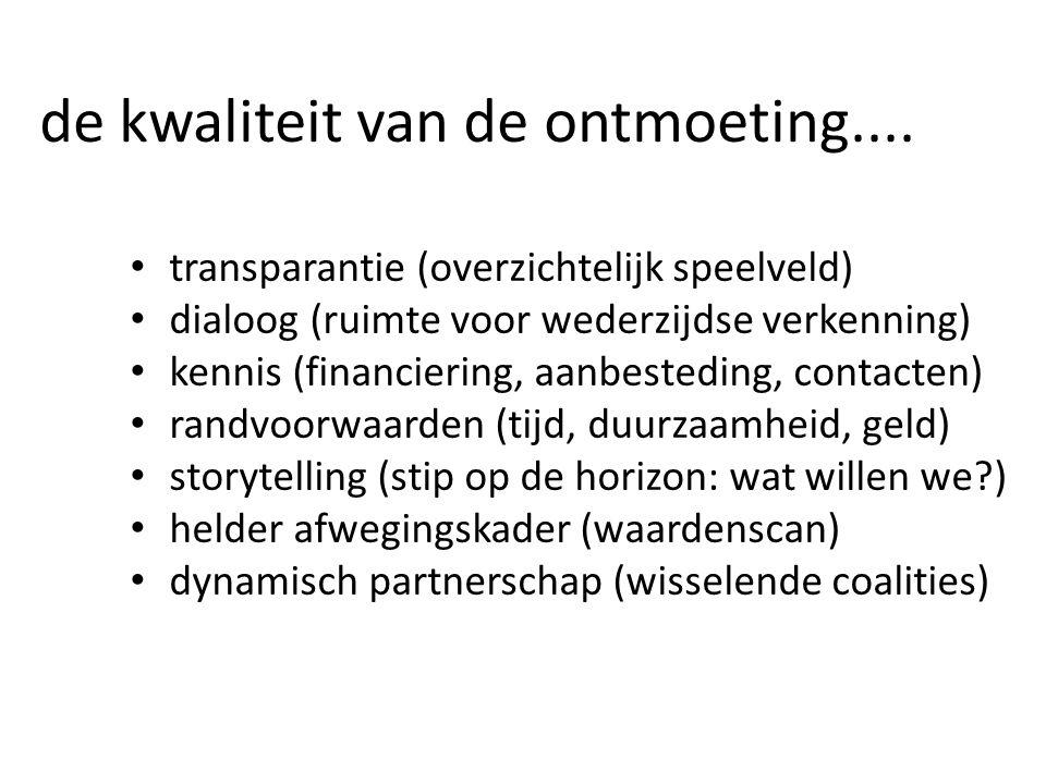de kwaliteit van de ontmoeting.... transparantie (overzichtelijk speelveld) dialoog (ruimte voor wederzijdse verkenning) kennis (financiering, aanbest