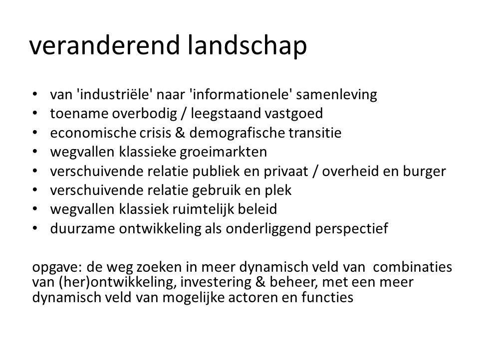 veranderend landschap van 'industriële' naar 'informationele' samenleving toename overbodig / leegstaand vastgoed economische crisis & demografische t