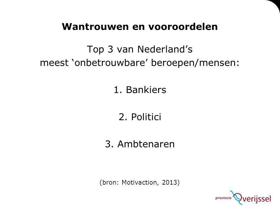 Wantrouwen en vooroordelen Top 3 van Nederland's meest 'onbetrouwbare' beroepen/mensen: 1. Bankiers 2. Politici 3. Ambtenaren (bron: Motivaction, 2013