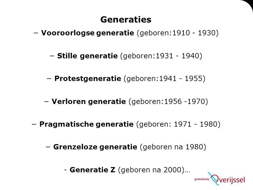Generaties − Vooroorlogse generatie (geboren:1910 - 1930) − Stille generatie (geboren:1931 - 1940) − Protestgeneratie (geboren:1941 - 1955) − Verloren generatie (geboren:1956 -1970) − Pragmatische generatie (geboren: 1971 - 1980) − Grenzeloze generatie (geboren na 1980) - Generatie Z (geboren na 2000)…