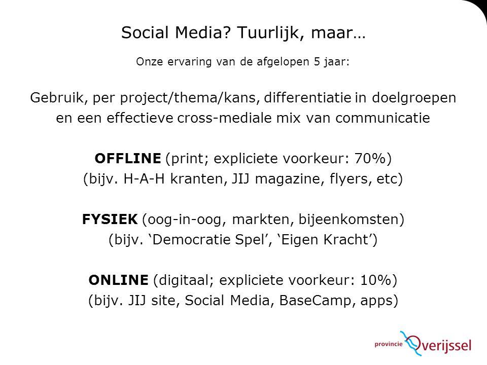 Social Media? Tuurlijk, maar… Onze ervaring van de afgelopen 5 jaar: Gebruik, per project/thema/kans, differentiatie in doelgroepen en een effectieve
