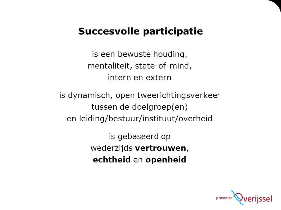 is een bewuste houding, mentaliteit, state-of-mind, intern en extern is dynamisch, open tweerichtingsverkeer tussen de doelgroep(en) en leiding/bestuur/instituut/overheid is gebaseerd op wederzijds vertrouwen, echtheid en openheid Succesvolle participatie