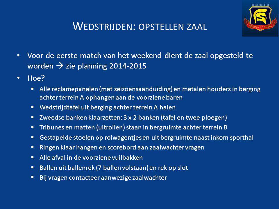 W EDSTRIJDEN : OPSTELLEN ZAAL Voor de eerste match van het weekend dient de zaal opgesteld te worden  zie planning 2014-2015 Hoe.