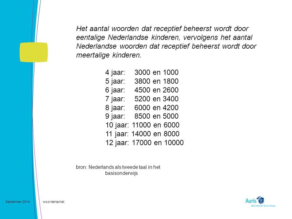 September 2014woordenschat Het aantal woorden dat receptief beheerst wordt door eentalige Nederlandse kinderen, vervolgens het aantal Nederlandse woor