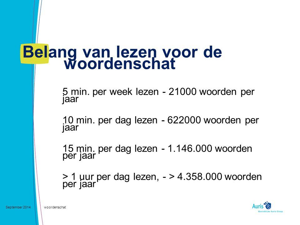 Belang van lezen voor de woordenschat September 2014woordenschat 5 min. per week lezen - 21000 woorden per jaar 10 min. per dag lezen - 622000 woorden