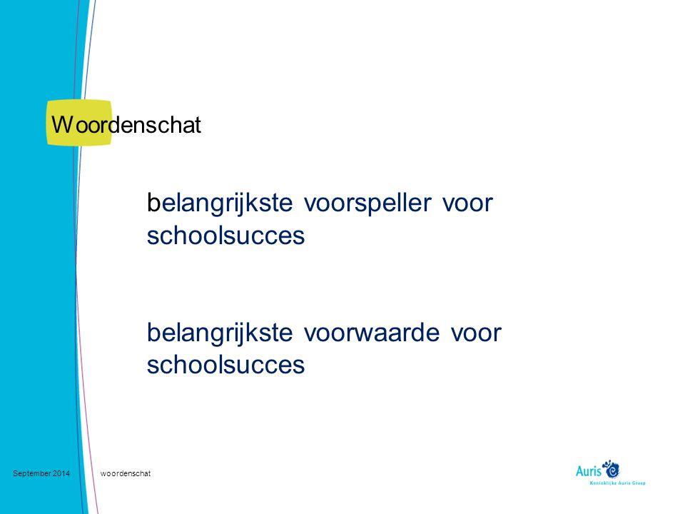 September 2014woordenschat Het aantal woorden dat receptief beheerst wordt door eentalige Nederlandse kinderen, vervolgens het aantal Nederlandse woorden dat receptief beheerst wordt door meertalige kinderen.