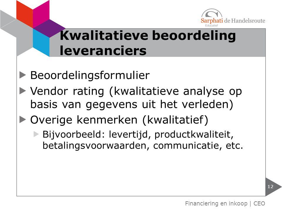 Beoordelingsformulier Vendor rating (kwalitatieve analyse op basis van gegevens uit het verleden) Overige kenmerken (kwalitatief) Bijvoorbeeld: levert