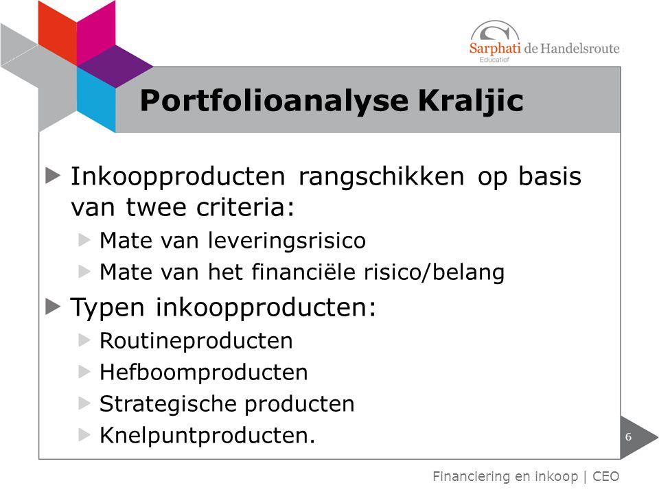 Inkoopproducten rangschikken op basis van twee criteria: Mate van leveringsrisico Mate van het financiële risico/belang Typen inkoopproducten: Routine