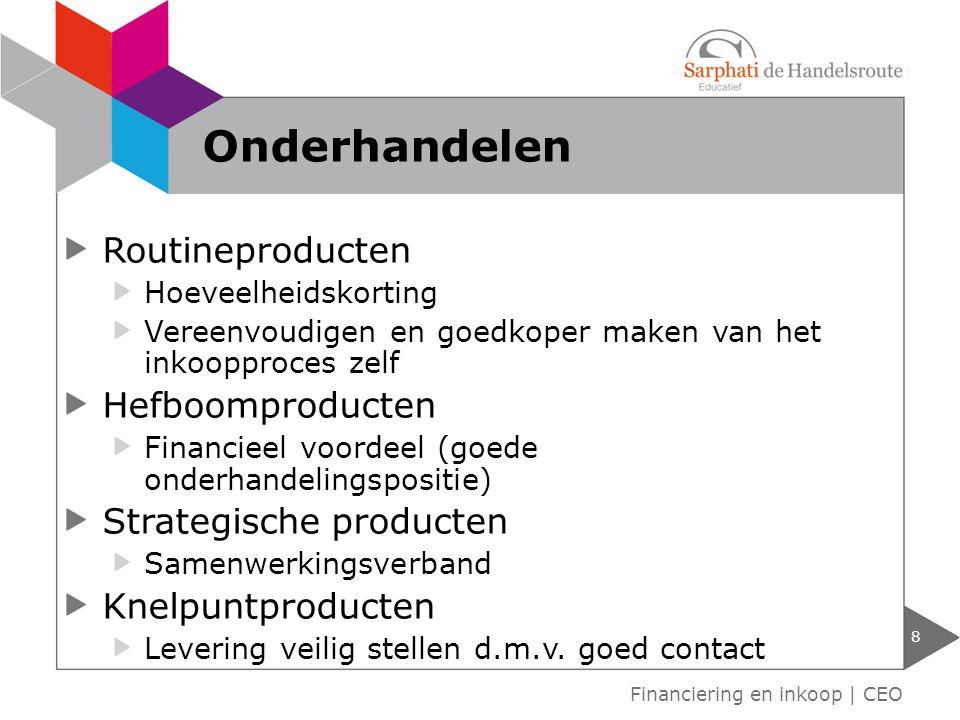 Routineproducten Hoeveelheidskorting Vereenvoudigen en goedkoper maken van het inkoopproces zelf Hefboomproducten Financieel voordeel (goede onderhand