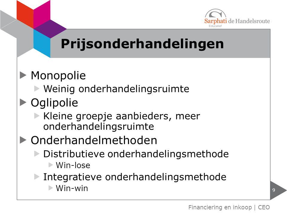 Monopolie Weinig onderhandelingsruimte Oglipolie Kleine groepje aanbieders, meer onderhandelingsruimte Onderhandelmethoden Distributieve onderhandelin
