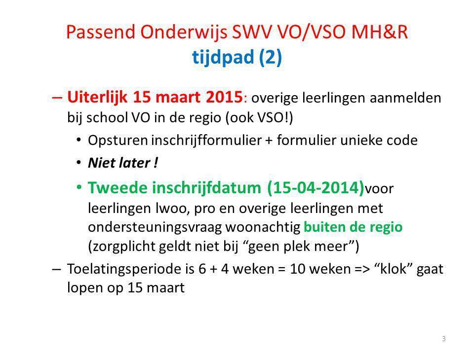 Passend Onderwijs SWV VO/VSO MH&R tijdpad (2) – Uiterlijk 15 maart 2015 : overige leerlingen aanmelden bij school VO in de regio (ook VSO!) Opsturen i