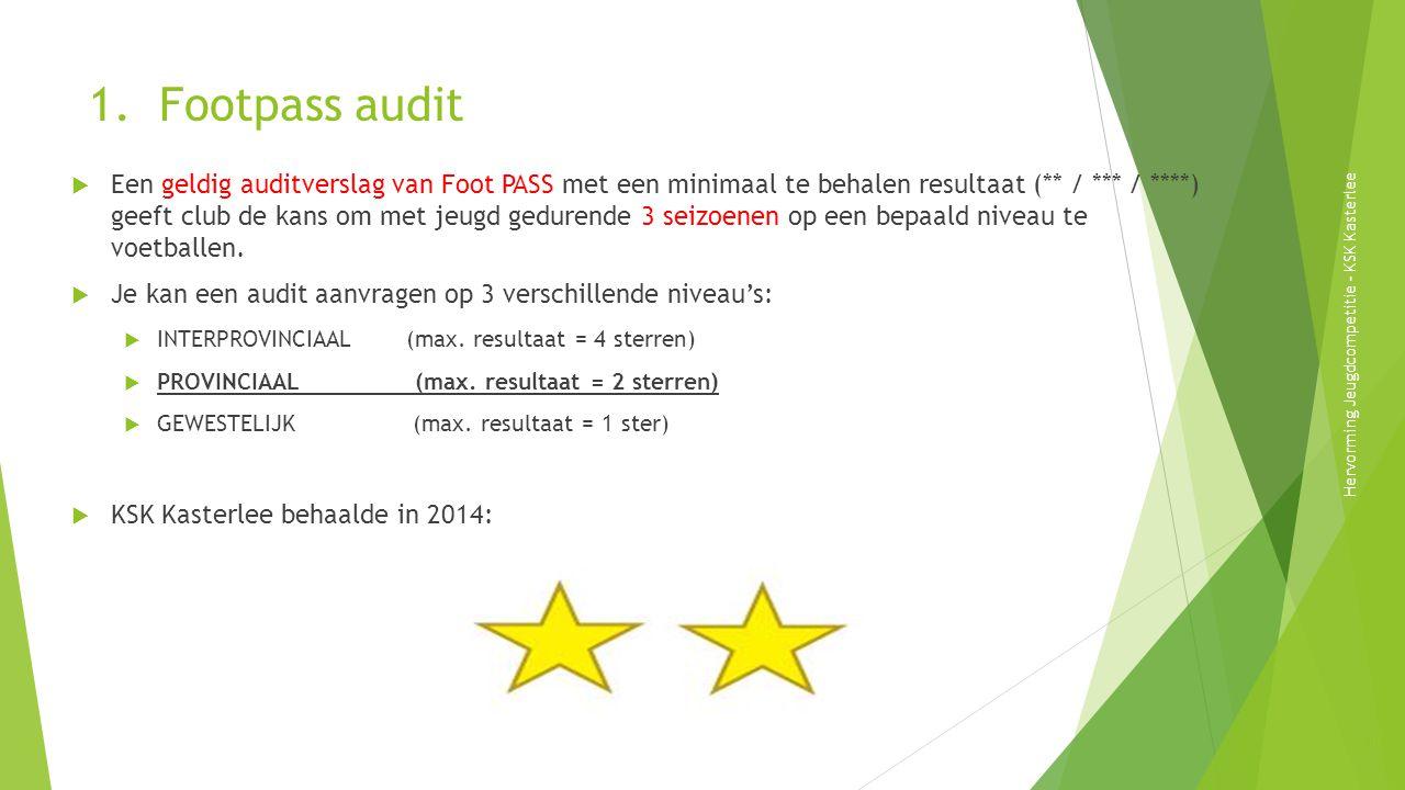 1. Footpass audit  Een geldig auditverslag van Foot PASS met een minimaal te behalen resultaat (** / *** / ****) geeft club de kans om met jeugd gedu