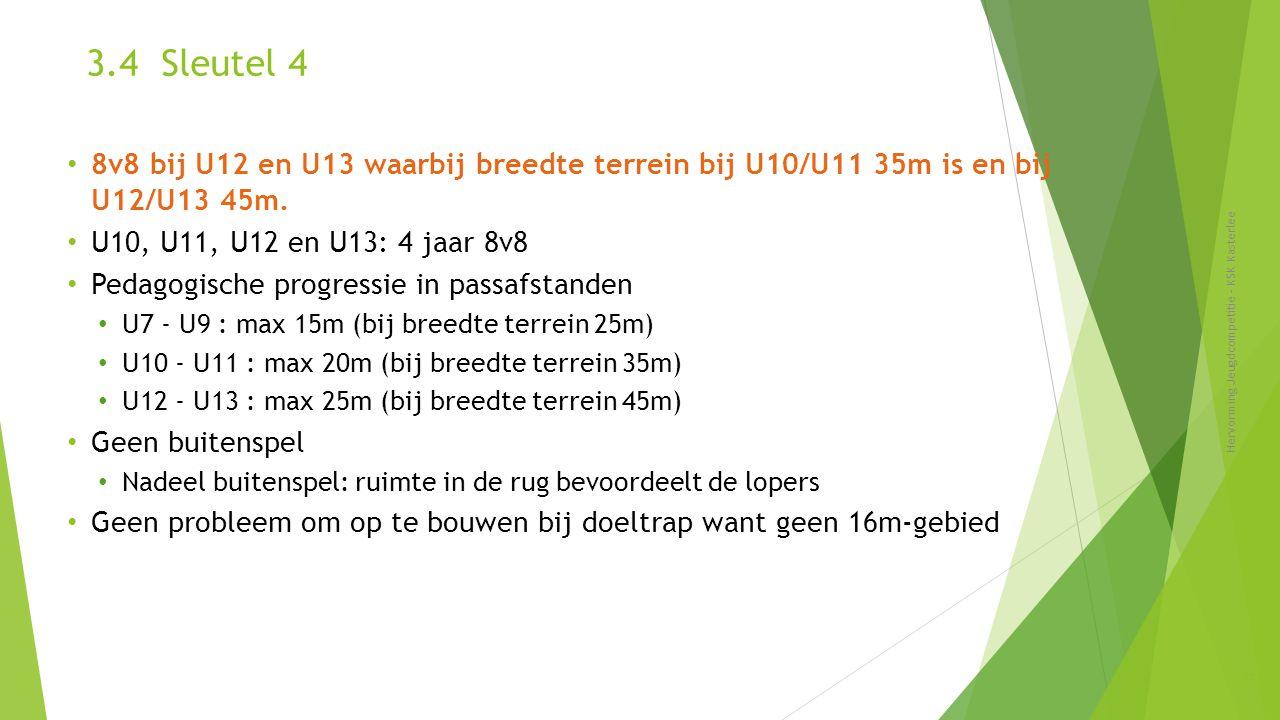 3.4 Sleutel 4 Hervorming Jeugdcompetitie - KSK Kasterlee 25 8v8 bij U12 en U13 waarbij breedte terrein bij U10/U11 35m is en bij U12/U13 45m. U10, U11