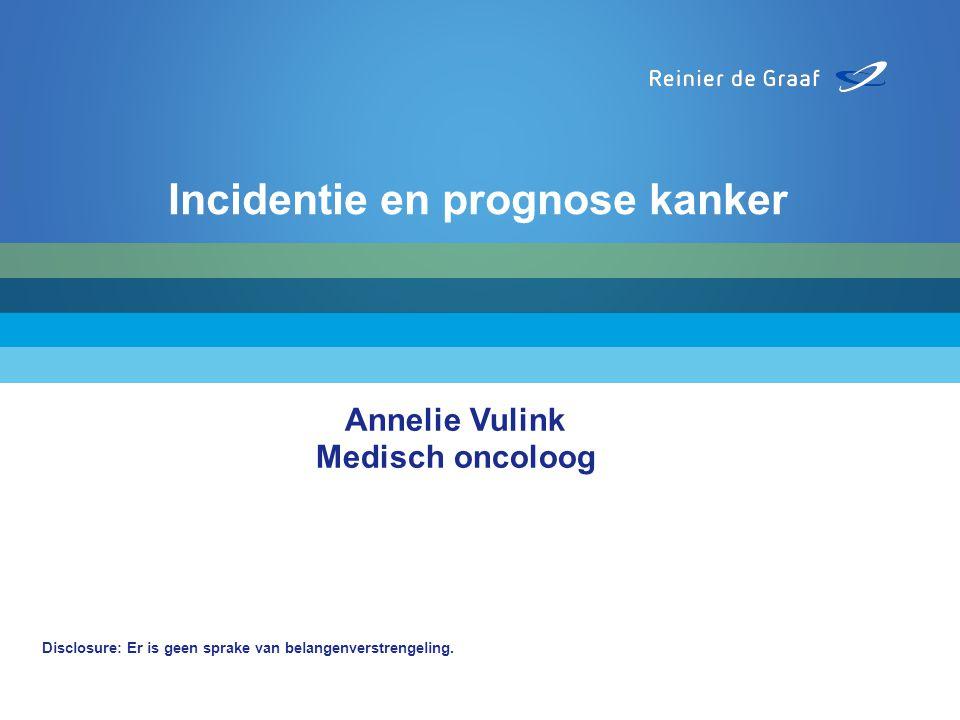 Annelie Vulink Medisch oncoloog Disclosure: Er is geen sprake van belangenverstrengeling. Incidentie en prognose kanker