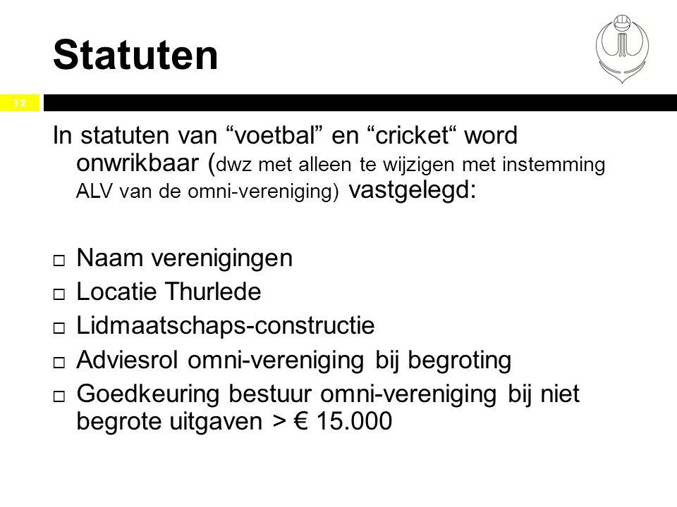 """Statuten 12 In statuten van """"voetbal"""" en """"cricket"""" word onwrikbaar ( dwz met alleen te wijzigen met instemming ALV van de omni-vereniging) vastgelegd:"""