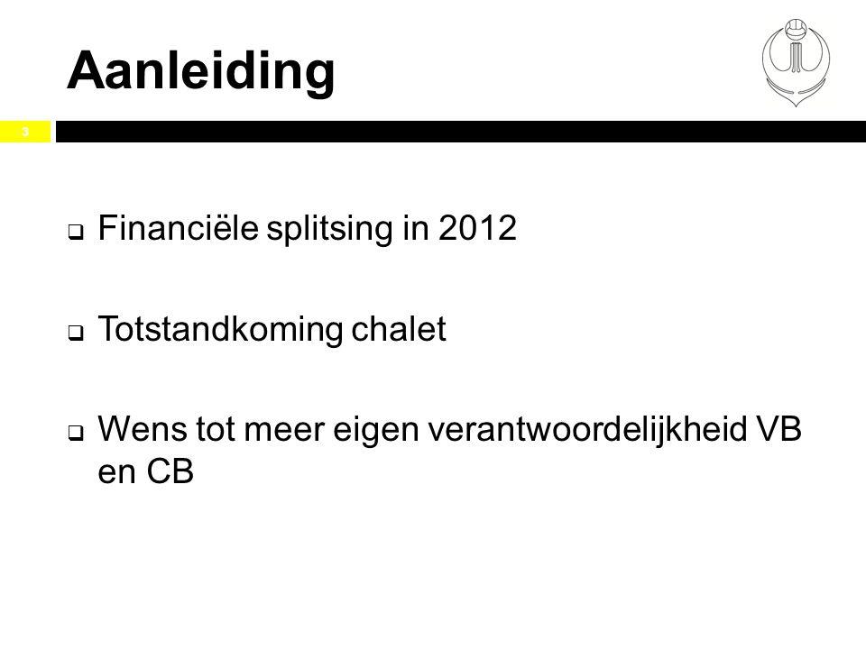 Aanleiding 3  Financiële splitsing in 2012  Totstandkoming chalet  Wens tot meer eigen verantwoordelijkheid VB en CB