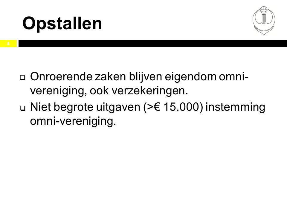 Opstallen 8  Onroerende zaken blijven eigendom omni- vereniging, ook verzekeringen.  Niet begrote uitgaven (>€ 15.000) instemming omni-vereniging.