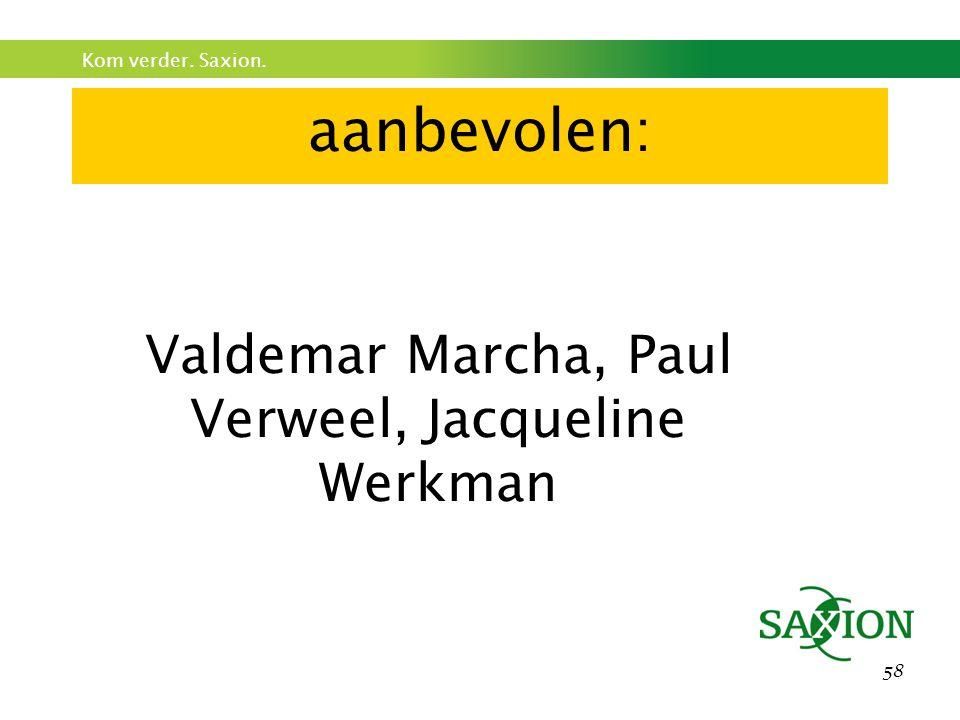 Kom verder. Saxion. 58 aanbevolen: Valdemar Marcha, Paul Verweel, Jacqueline Werkman
