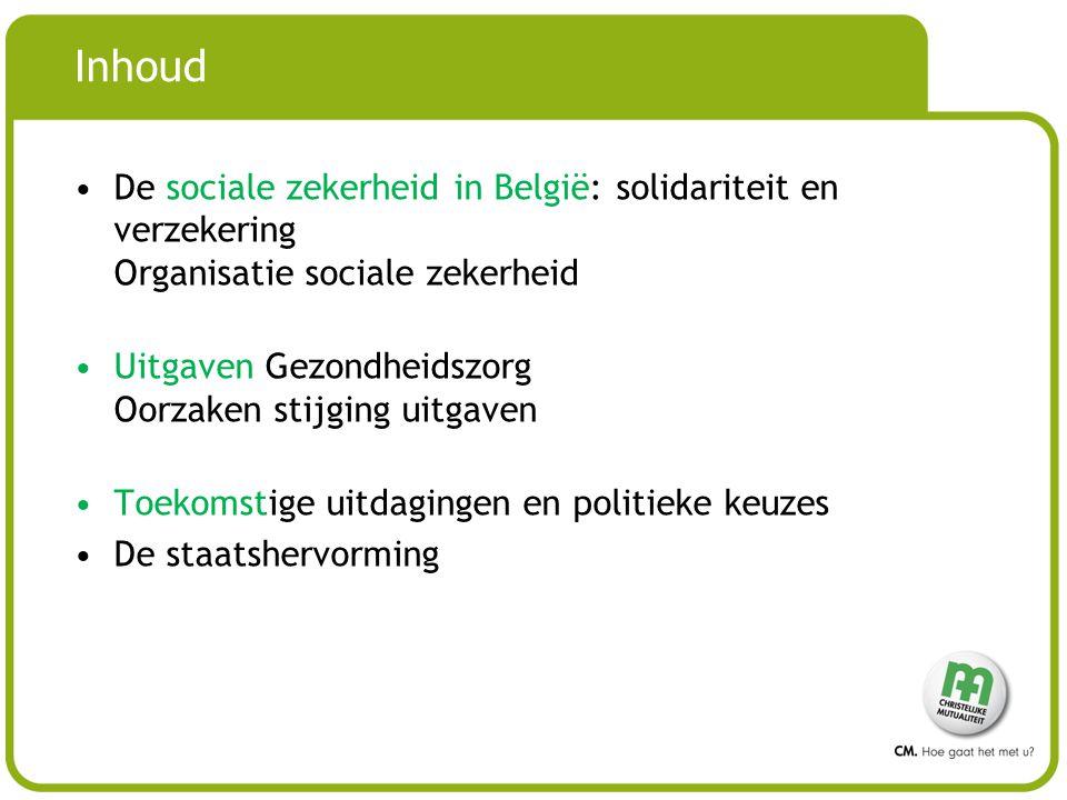 Inhoud De sociale zekerheid in België: solidariteit en verzekering Organisatie sociale zekerheid Uitgaven Gezondheidszorg Oorzaken stijging uitgaven Toekomstige uitdagingen en politieke keuzes De staatshervorming
