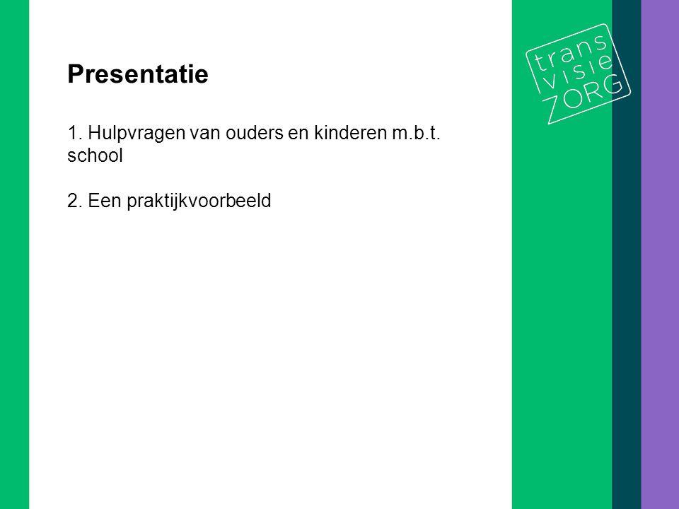 De titel van de presentatie 2/10 Presentatie 1. Hulpvragen van ouders en kinderen m.b.t. school 2. Een praktijkvoorbeeld