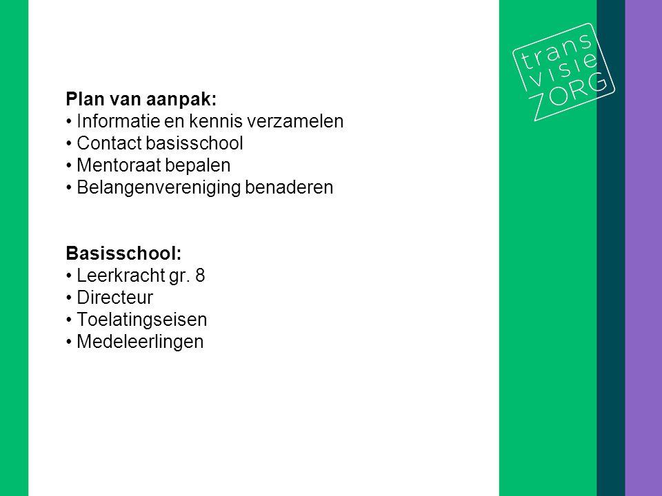 De titel van de presentatie 8/10 Plan van aanpak: Informatie en kennis verzamelen Contact basisschool Mentoraat bepalen Belangenvereniging benaderen B
