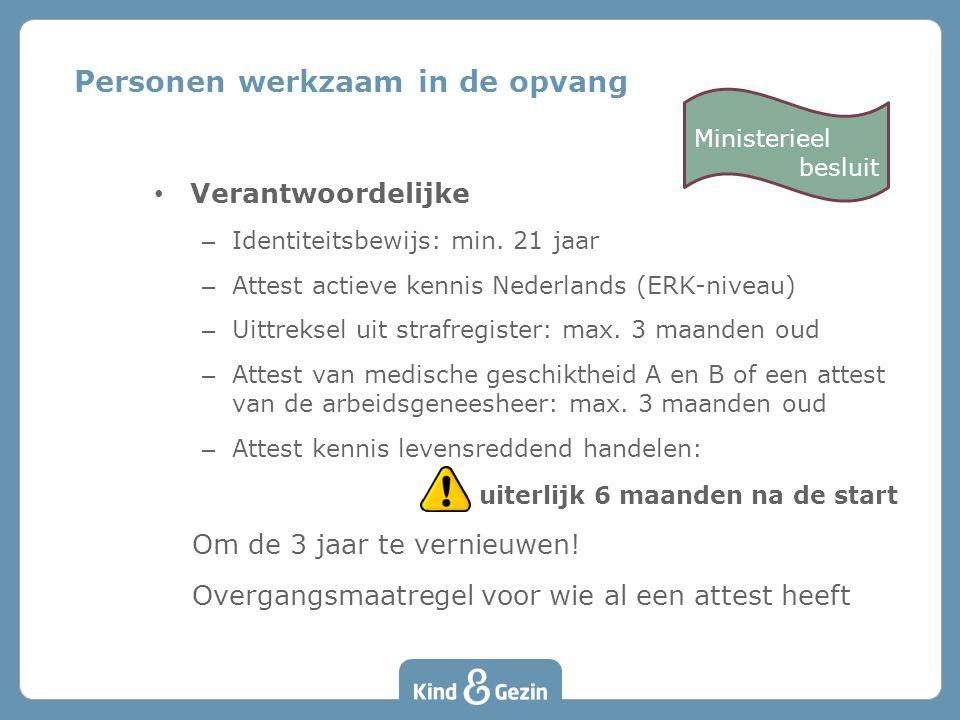 Verantwoordelijke – Identiteitsbewijs: min. 21 jaar – Attest actieve kennis Nederlands (ERK-niveau) – Uittreksel uit strafregister: max. 3 maanden oud