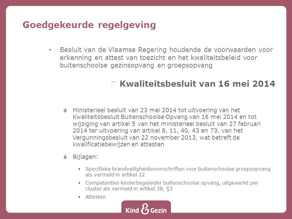 Besluit van de Vlaamse Regering houdende de subsidievoorwaarden voor buitenschoolse gezinsopvang en groepsopvang nSubsidiebesluit van 16 mei 2014 éMinisterieel besluit tot uitvoering van het Subsidiebesluit Buitenschoolse Opvang van 16 mei 2014 Goedgekeurde regelgeving