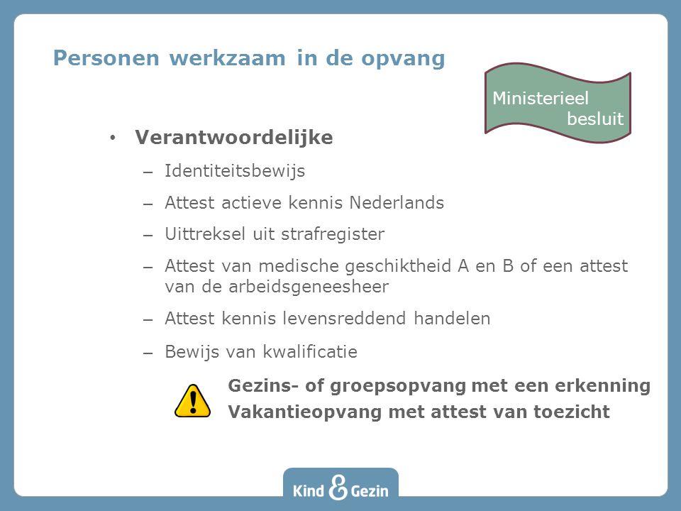 Verantwoordelijke – Identiteitsbewijs – Attest actieve kennis Nederlands – Uittreksel uit strafregister – Attest van medische geschiktheid A en B of e