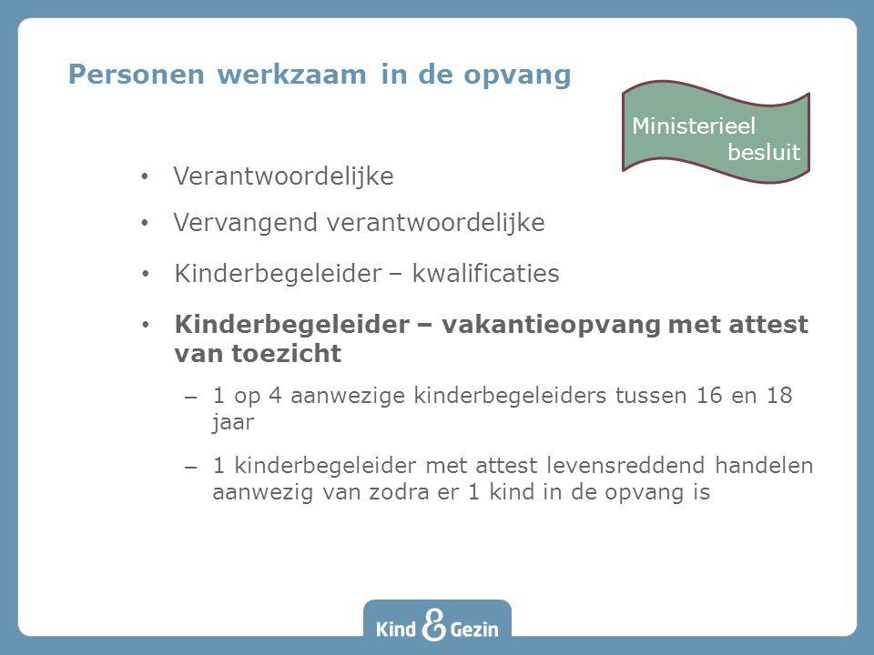 Verantwoordelijke Vervangend verantwoordelijke Kinderbegeleider – kwalificaties Kinderbegeleider – vakantieopvang met attest van toezicht – 1 op 4 aan