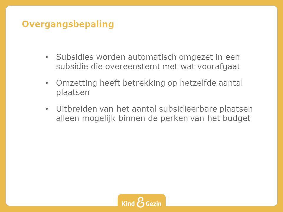 Subsidies worden automatisch omgezet in een subsidie die overeenstemt met wat voorafgaat Omzetting heeft betrekking op hetzelfde aantal plaatsen Uitbr