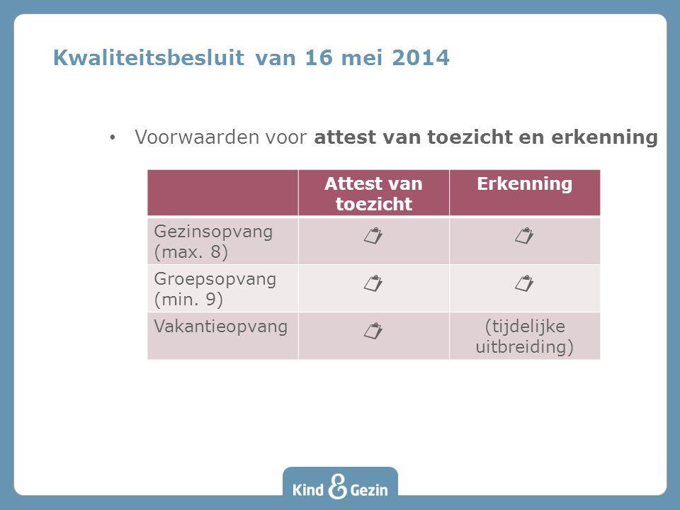 Voorwaarden voor attest van toezicht en erkenning Kwaliteitsbesluit van 16 mei 2014 Attest van toezicht Erkenning Gezinsopvang (max. 8)  Groepsopvan