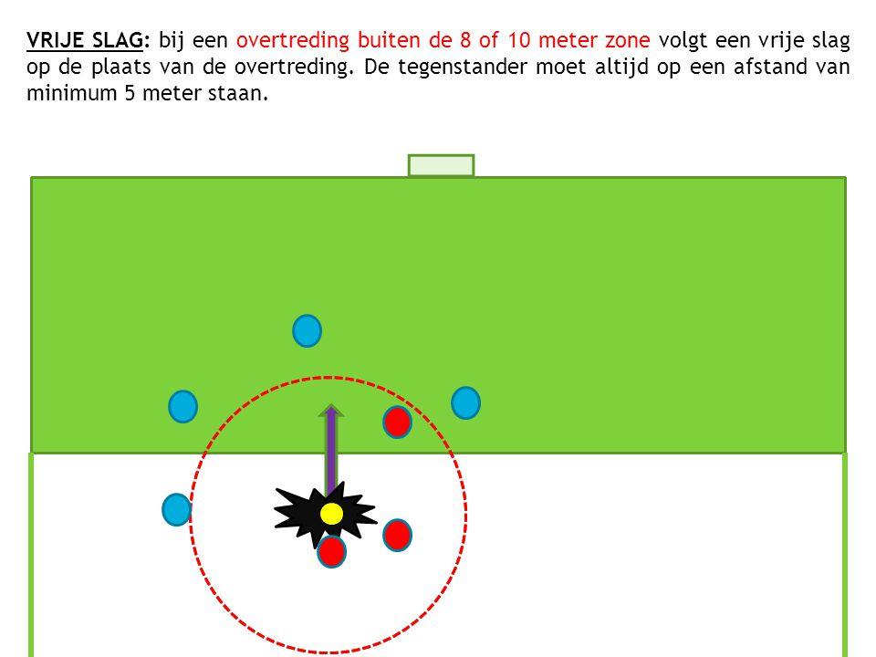 VRIJE SLAG: bij een overtreding buiten de 8 of 10 meter zone volgt een vrije slag op de plaats van de overtreding. De tegenstander moet altijd op een