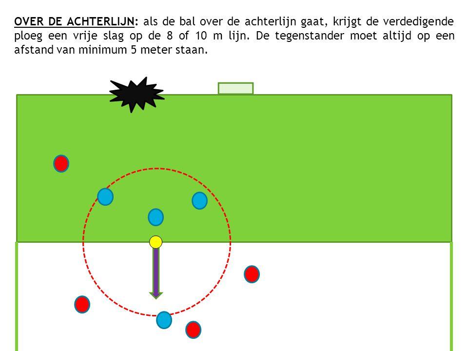 OVER DE ACHTERLIJN: als de bal over de achterlijn gaat, krijgt de verdedigende ploeg een vrije slag op de 8 of 10 m lijn. De tegenstander moet altijd