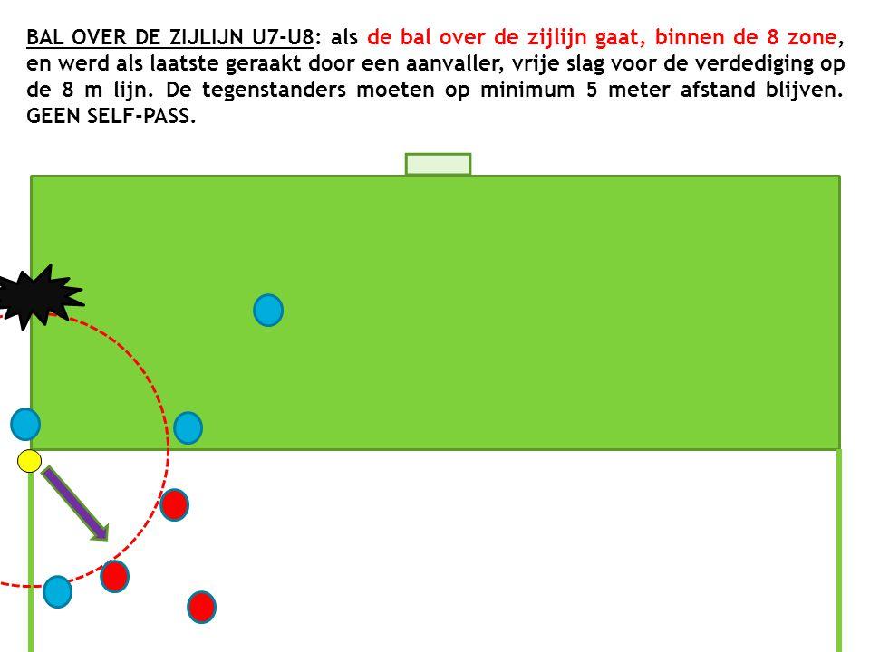 BAL OVER DE ZIJLIJN U7-U8: als de bal over de zijlijn gaat, binnen de 8 zone, en werd als laatste geraakt door een aanvaller, vrije slag voor de verde