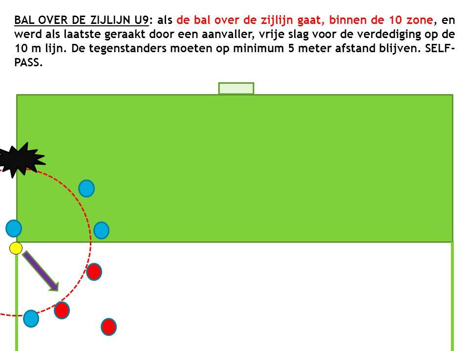 BAL OVER DE ZIJLIJN U9: als de bal over de zijlijn gaat, binnen de 10 zone, en werd als laatste geraakt door een aanvaller, vrije slag voor de verdedi