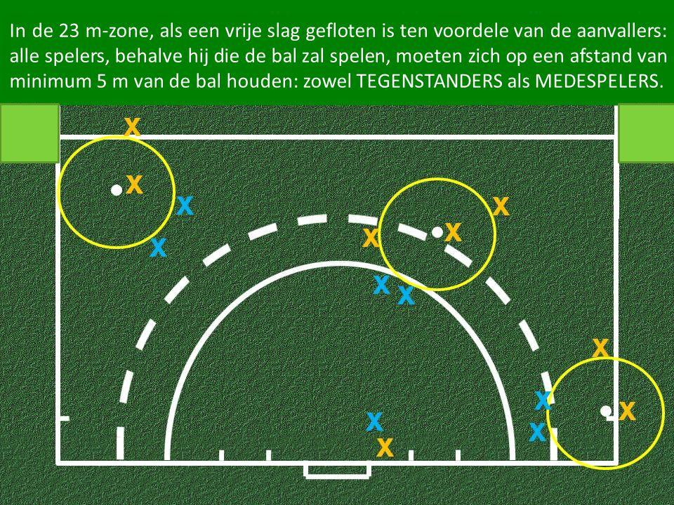 In de 23 m-zone, als een vrije slag gefloten is ten voordele van de aanvallers: alle spelers, behalve hij die de bal zal spelen, moeten zich op een af