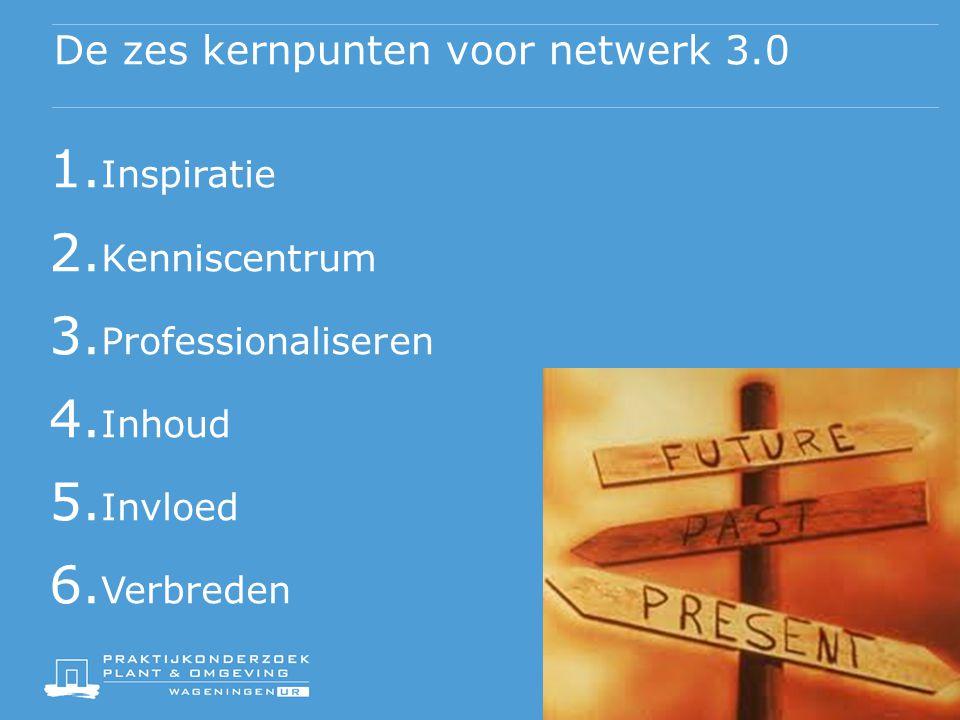 De zes kernpunten voor netwerk 3.0 1. Inspiratie 2.