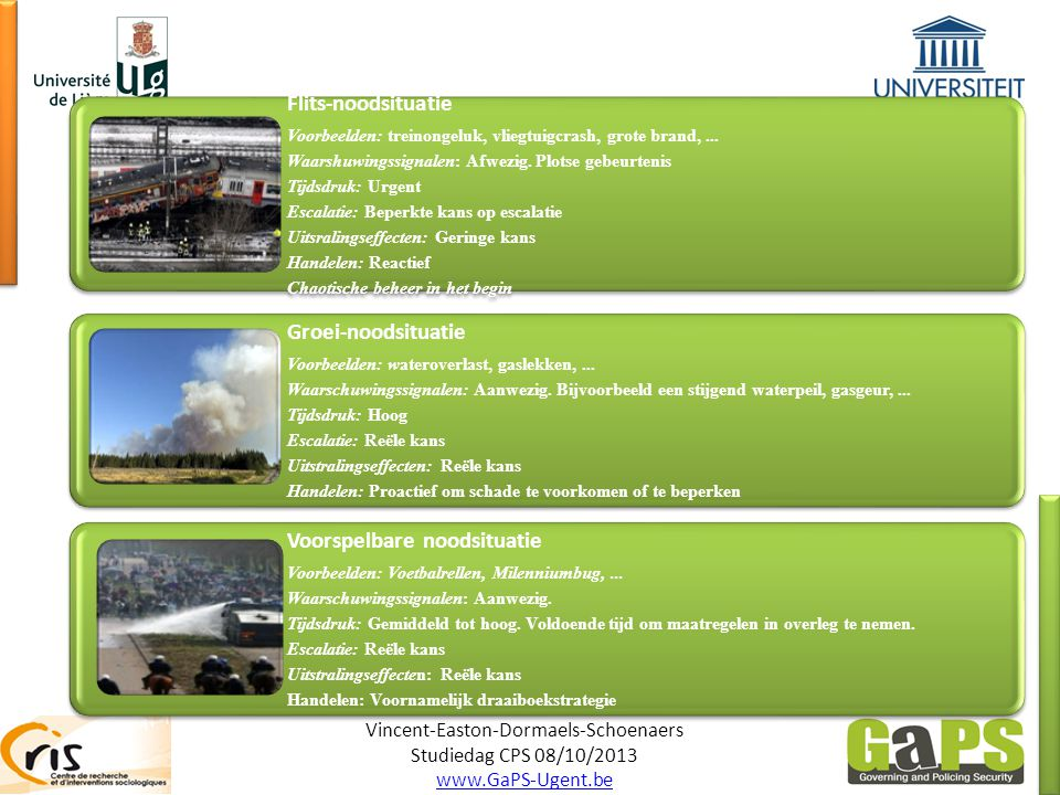 Vincent-Easton-Dormaels-Schoenaers Studiedag CPS 08/10/2013 www.GaPS-Ugent.be Flits-noodsituatie Voorbeelden: treinongeluk, vliegtuigcrash, grote brand,...