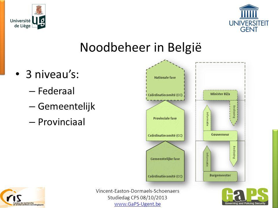 Noodbeheer in België Vincent-Easton-Dormaels-Schoenaers Studiedag CPS 08/10/2013 www.GaPS-Ugent.be 3 niveau's: – Federaal – Gemeentelijk – Provinciaal